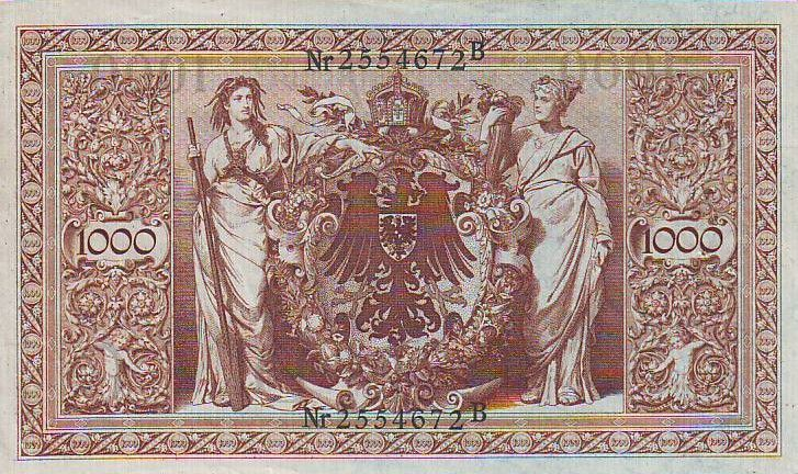 Germany 1000 Mark Allegorical figures - Green seal - 1910 - 7 digit