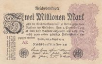 Germany 2 Millionen Mark  Black and Lilac - 09-08-1923 Serial WK - VF to XF