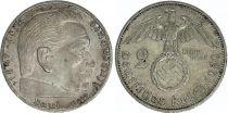 Germany 2 Reichsmark Swastika - Hindenburg 1936-1939 Silver