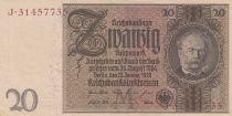 Germany 20 Rentenmark 1929 - AU - Serial J - P.181