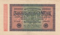 Germany 20000 Mark Black on pick and green - G D watermark 1923