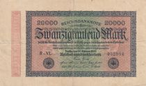 Germany 20000 Mark Black on pick and green - Small circle watermark 1923