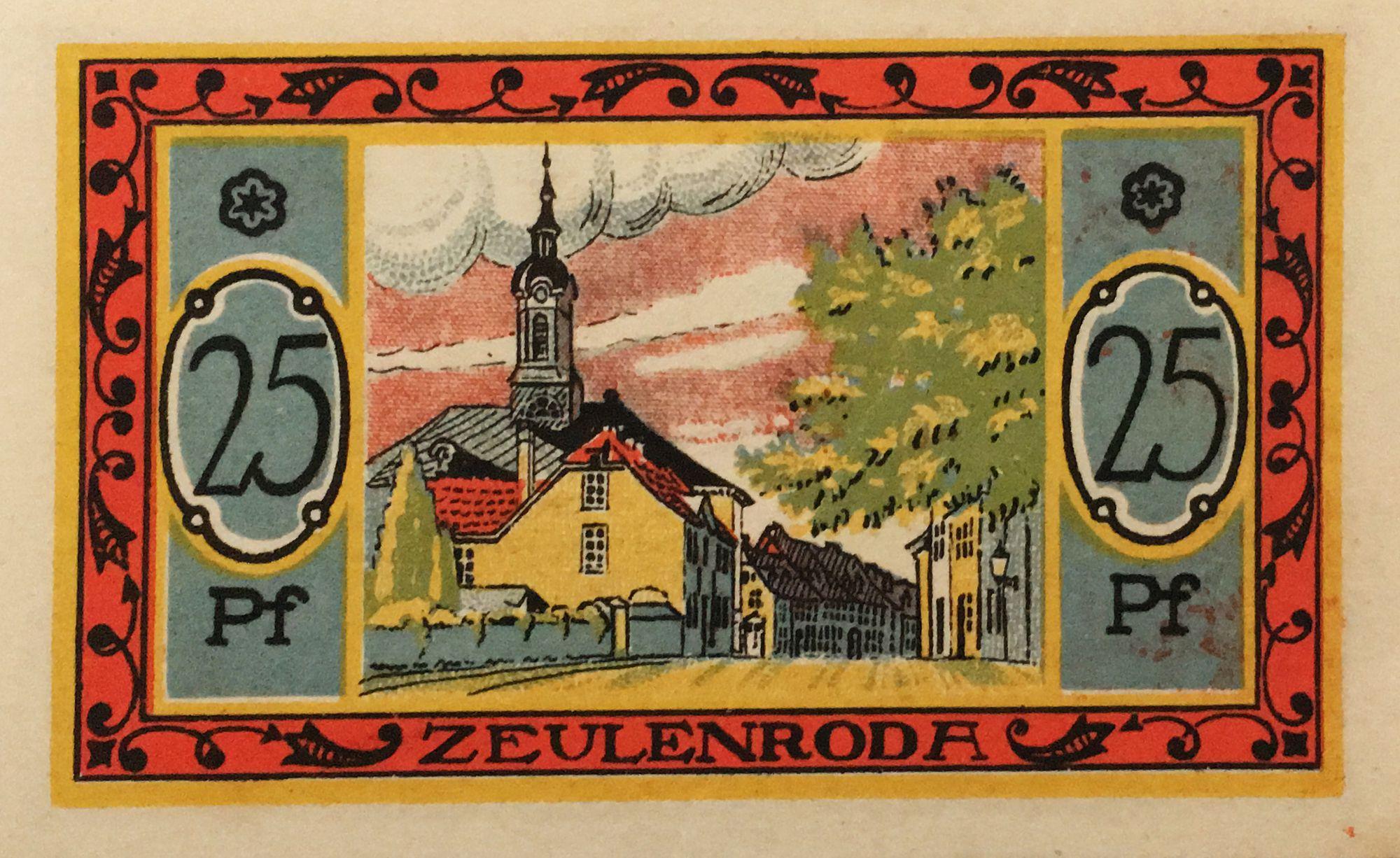 Germany 25 Pfennig, Zeulenroda - notgeld 1921 - XF+