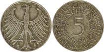 Germany 5 Mark 1951J - Eagle, silver