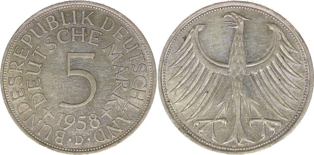 coin germany 5 mark 1958 imperial eagle bundesrepublik deutschland. Black Bedroom Furniture Sets. Home Design Ideas