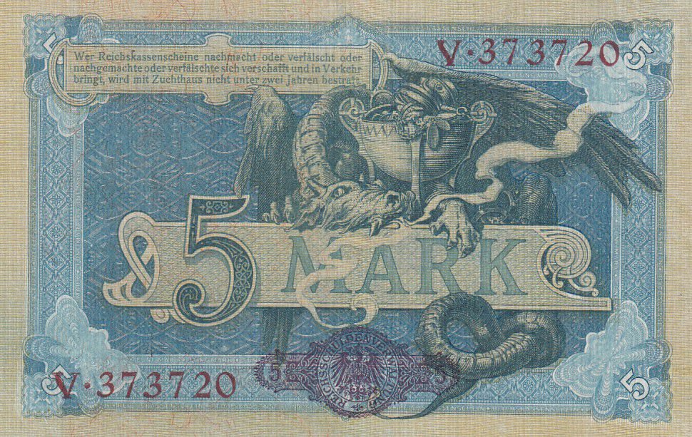 Germany 5 Mark Germania - Fafnir - 1904 - P.8b - UNC