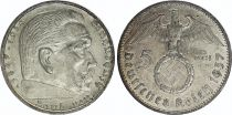 Germany 5 Reichsmark Swastika - Hindenburg 1936-1939 Silver