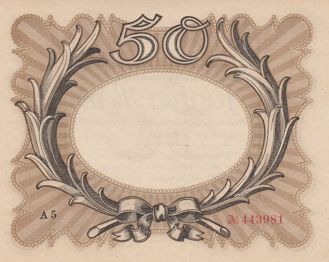 Germany 50 Mark «Egg Note» - 1918 - aUNC - P.65