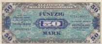 Germany 50 Mark AMC, blue on lt blue - 1944 9 digit 021629687 with F