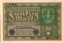 Germany 50 Mark Head of woman - 1919 - Reihe 1 serial FM c - aUNC - P.66