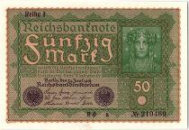Germany 50 Mark Head of woman - 1919 - Reihe 1 serial RO a - aUNC - P.66