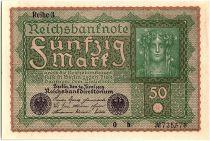 Germany 50 Mark Head of woman - 1919 - Reihe 3 serial 0 b  - AU - P.66