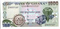 Ghana 1000 Cedis - Jewels and harvesting - 1995-96