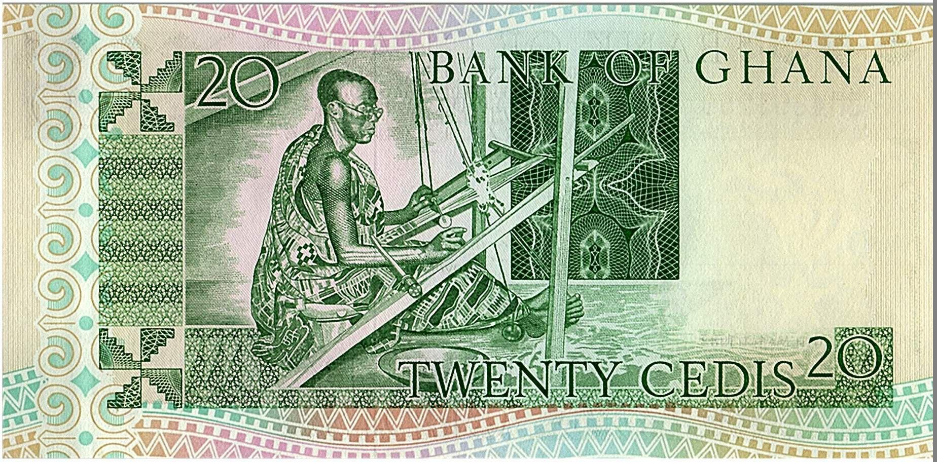 Ghana 20 Cedis - Miner and Man Weaving - 1982