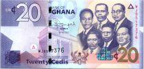 Ghana 20 Cedis, K. Nkrumah et 5 leaders - Immeuble - 2015
