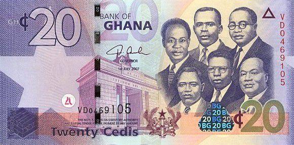 Ghana 20 Cedis K. Nkrumah, 5 leaders - Bdlg - 2007