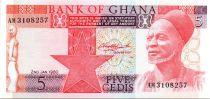 Ghana 5 Cedis - Elderly man - Woodcutter - 1980