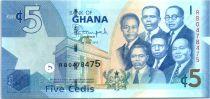 Ghana 5 Cedis, K. Nkrumah and 5 leaders - Monuments - 2015