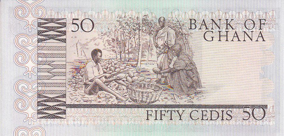 Ghana 50 Cedis - Statue - Man - cacao - 1980
