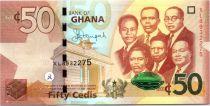 Ghana 50 Cedis, K. Nkrumah et 5 leaders - Immeuble - 2015