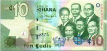 Ghana P.39 10 Cedis, K. Nkrumah, 5 leaders - Central Bank - 2015