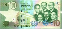 Ghana P.39 10 Cedis, K. Nkrumah et 5 leaders - Banque Centrale - 2015