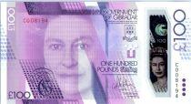 Gibraltar 100 Pounds Elisabeth II - Sir Josua Hassan - 2015