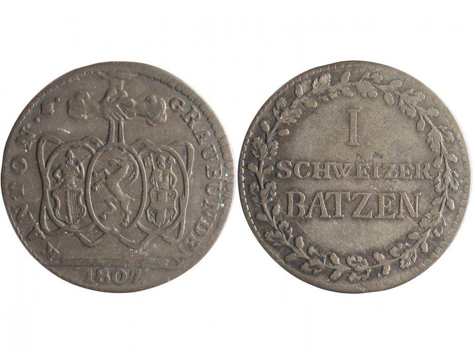 Graubunden 1 Schweizer Batzen Batzen, Armoiries