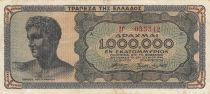 Grèce 1 000 000 Drachmes 1944 - Buste jeune homme, Temple de Poséïdon - Série IG