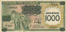 Grèce 1000 Drachmai 1939 - Jeunes filles, paysage