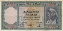 Grèce 1000 Drachms Femme - Athéna et Parthénon - 1939 - TTB