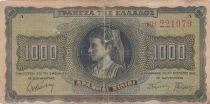 Grèce 1000 Drachms Jeune femme - Lion  1942 - pTB