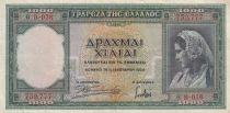 Grecia 100 Drachmai 1939 - Young lady, Monument, Ruin - Serial B