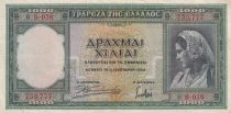 Greece 1000 Drachmai 1939 - Young lady, Monument, Ruin - Serial B