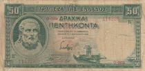 Greece 50 Drachms Hesiod - 1939 - aF - P.107