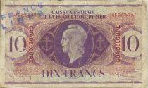 Guadalupa 10 Francs Marianne - Cross of Lorraine - 1944