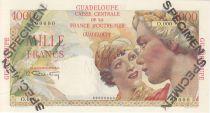 Guadalupa 1000 Francs Women at right - 1946 Specimen O.000