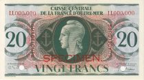 Guadalupa 20 Francs Marian - Cross of Lorraine - 1944 Specimen