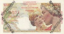 Guadalupe 1000 Francs Women at right - Type 1946 Specimen O.000