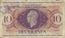 Guadeloupe 10 Francs Marianne - Cross of Lorraine - 1944