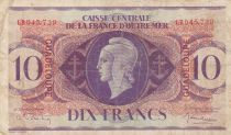 Guadeloupe 10 Francs Marianne L.1944 - Lorraine cross - Serial GB