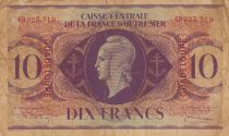 Guadeloupe 10 Francs Marianne L.1944 - Lorraine cross - Serial GD