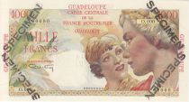 Guadeloupe 1000 Francs Women at right - 1946 Specimen O.000