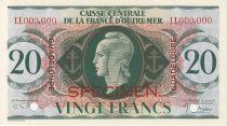 Guadeloupe 20 Francs Marian - Cross of Lorraine - 1944 Specimen