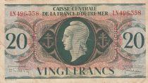 Guadeloupe 20 Francs Marianne L.1944 - Croix de Lorraine - Série LN