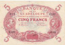 Guadeloupe 5 Francs Cabasson Rouge 1930 - Série F.127 - Non signé ? - SPL