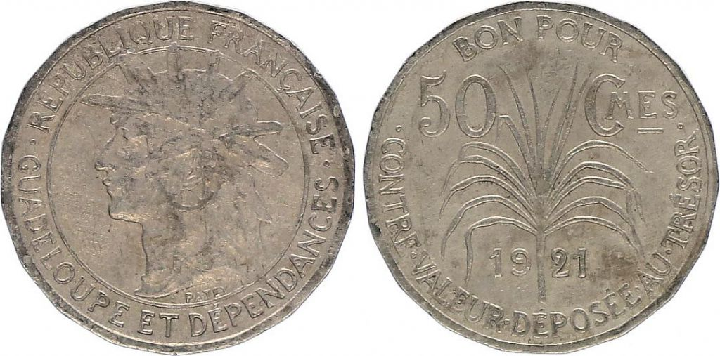 Guadeloupe 50 Centimes Indian\'s head - 1921 - VF - KM.45