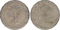 Guadeloupe 50 Centimes Tête d\'indien - 1921 - TTB