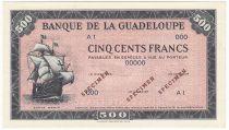 Guadeloupe 500 Francs Santa Maria - 1945 - Specimen A 1 - UNC - P.25