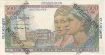 Guadeloupe 500 Francs Women, view of Pointe-à-Pitre - 1946 Specimen